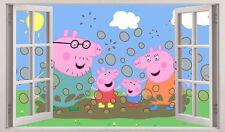 Peppa Pig 3D Window View Wall Stickers Art Decal Mural Children's Nursery 297