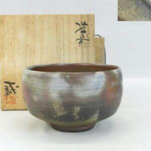 E0170: Japanese BIZEN pottery ware tea bowl by famous Issei Ohira w/signed box