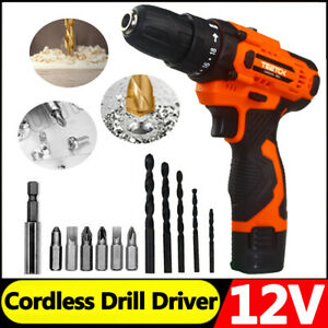 12V Cordless Drill Electric Screwdriver Rechargeable Lithium Tool Drill Bits New