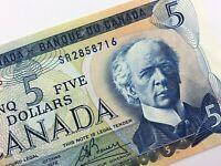 1972 Canada 5 Dollar Circulated SR Prefix Lawson Bouey Banknote Five R326