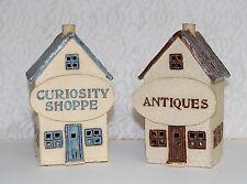 Handmade Village Christmas Houses - PAIR  ANTIQUES + CUROSITY SHOP Pottery