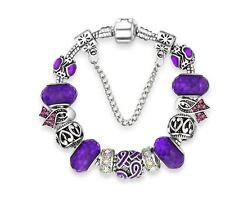 "Purple Ribbon Cancer Awareness European Bead Charm Silver 7.5"" Bracelet 19cm"