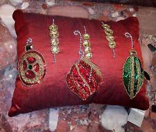 "NWT Kim Seybert Neiman Marcus Christmas Ornaments Red Gold Beaded Pillows 12x16"""