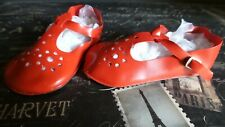 Cute! Red Pair Larger Mary Jane Style Shoes for Artist Vintage and Antique Dolls