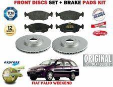 FOR FIAT PALIO WEEKEND 1996-> NEW FRONT 257mm BRAKE DISCS SET + PADS KIT