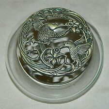 Gorgeous Potpourri Glass Jar Container With Hummingbird Designed Metal Lid