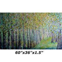 XXL Extra Large 60x36 Original Painting SPRING FOREST Birch Trees Light Shining