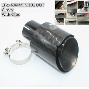 Black Stainless Steel Car Exhaust Muffler Pipe Inlet 63mm Outlet 101mm Glossy