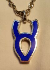 Rare GUCCI Estate Sterling & Blue Enameled Taurus Zodiac Necklace Mens? Striking