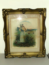 Antique 19th C. Framed Victorian Countryside Landscape Painting by E. Hesse 1897