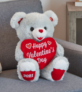 """VALENTINE'S DAY SWEETHEART GREY TEDDY BEAR 16"""" DATED 2021 FREE SHIPPING!"""