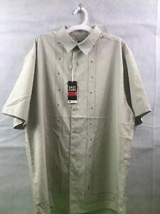 Mens Size Medium Haggar Easy Care Bay Tan Short Sleeve Button Up Shirt NWT