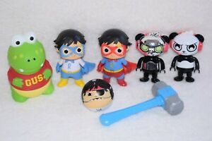 Ryan's World Figures Blue Titan Gus Panda Gobsmax Ball Hammer Toys Bundle A87