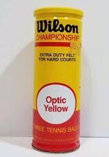Vintage Wilson Tennis Balls 1980s Optic Yellow Extra Duty Felt Sealed Pop Top
