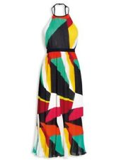 NEXT COLOUR BLOCK CRINKLE MAXI DRESS SIZE 14 PETITE BNWT