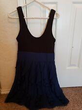 Express Blue Black Ruffle Cocktail Dress Stretch Tank Top Sz 4