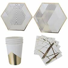 Polka Dot Sky White & Gold Foil Birthday Party Tableware Pack Paper Plates Cups