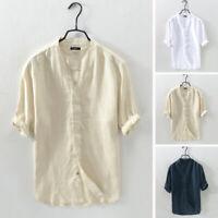Chemise à manches courtes en lin pour hommes occasionnels d'été Chemises Hauts