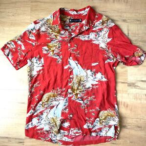 All Saints Men's Red Large Tiger Japanese Shirt