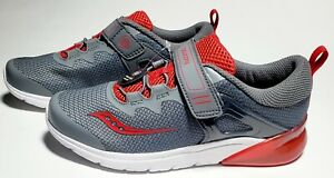 Saucony Kid's Flash Glow A/C, Light Up Sneaker Shoes Grey / Red