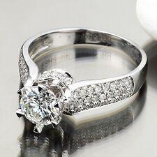 Brand Design 2ct Diamonique Cz 925 Silver Engagement Wedding Ring Set Size 4-10