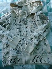 Woman's size Med Cream Cotton Twenty One Zipper Front Hoodie with Floral Design