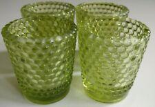 More details for 4 vintage 1960s scandinavian danish green hobnail glass candle cup votive holder