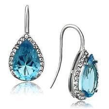 Sea Blue Topaz Pear Cut Halo 316L Hypoallergenic Stainless Steel Hook Earrings