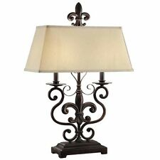 "Fleur De Lis Table Lamp Old World Tuscan French Country Empire Shade Le  30""H"