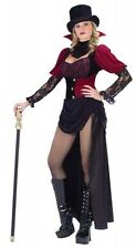 Ladies Burlesque Victorian Vampiress Halloween Fancy Dress Costume Outfit 10-12