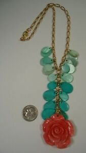 Lee Sands Wacky Friday Pink Coral (recon) Carved Rose w MOP Teardrops Necklace