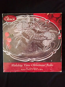 "Gibson Glass Christmas Holiday Bells Round Platter 13"" inch Serving Platter"