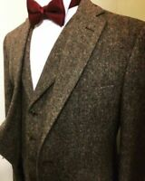 Men Dark Brown Tweed Suits Vintage Check Groom Tuxedo Party Prom Wedding Suits
