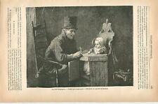 Bébé les deux compagnons par Jozef Israëls École de la Haye GRAVURE PRINT 1879