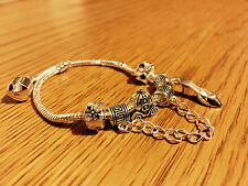 "8"" Disney Cinderella  PADORA 5 Pcs Silver Charm Beads Bracelet Girl's Best Gift"