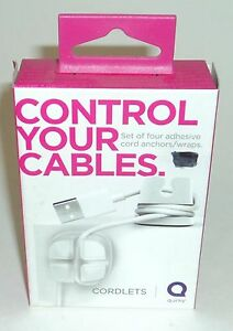 QUIRKY Control Your Cables - Set Of 4 Adhesive Anchors/Wraps WHITE NIB