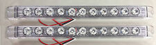 "2 NEW CLEAR/RED LED STOP TAIL TURN LIGHTS, SLIM, 17""s LONG TRAILER TRUCK & RV"