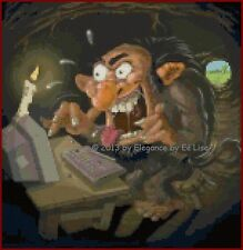 "Mad Troll ""Trolling on the Computer"" Fantasy Cross Stitch Pattern CD"