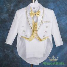 White Baby Boy Formal Suit Tuxedo Tail Christening Wedding Pageboy Sz 3-4 ST015