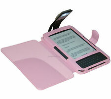 PINK COVER CASE WITH LIGHT FOR AMAZON KINDLE 3 AND 3G