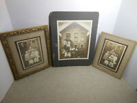 Cabinet Card Photos (3) Vintage (1 Framed) Family & Same Couple In All Photos