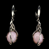 Unheated Oval Pink Opal 14x10mm White Gold Plate 925 Sterling Silver Earrings