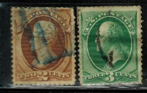 United States #135,136 H.Grill 1870-71 Used