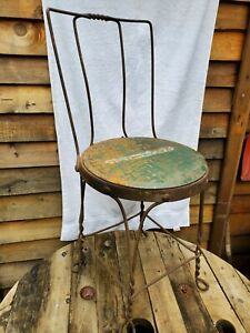 Antique Wrought Iron Parlor Chair Twisted Metal Steampunk Repurposed