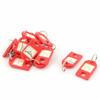 Metal Ring ID Label Name Tag Key Fobs Luggage Marking Keyring Keychain Red 15pcs