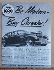 1939 magazine ad for Chrysler - Be Modern Buy Chrysler! List of features