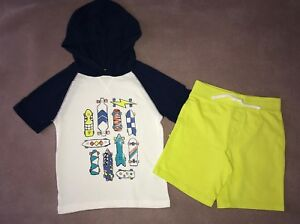 Crazy 8 a Gymboree co Boys Size 5T T-shirt Yellow Shorts Skateboards New