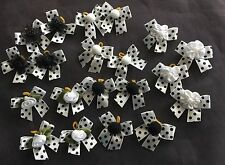 Lot 30 Dog Grooming Hair Bows - White and Black Polka-dot Collection