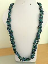 "Sodalite, Russian Amazonite & Neon Apatite Nugget 3 Strand 28"" Plaited Necklace"