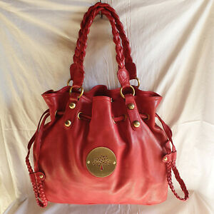 Grand Sac en Cuir Grainé Rouge TBE